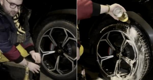 Rich kid rửa lốp Lamborghini bằng rượu vang thượng hạng xem chai nào giúp xe đi sướng hơn